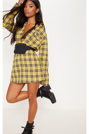 PRETTYLITTLETHING Mustard Oversized Check Shirt Dress