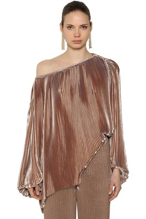 KRIZIA OFF THE SHOULDER PLEATED SATIN TOP