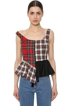 ISA ARFEN Women Tops - Wool Plaid Bustier Top