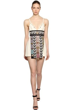 FAUSTO PUGLISI Embellished Wool & Linen Crepe Dress