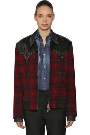 Dsquared2 Studded Check Wool Shirt Jacket