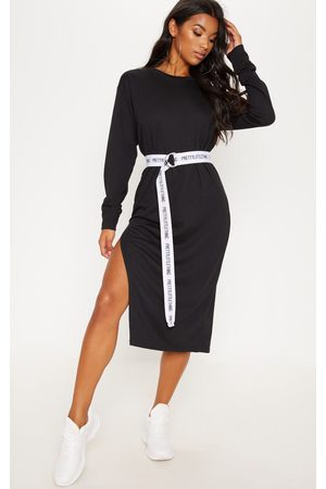PRETTYLITTLETHING Oversized Side Split Midi Jumper Dress