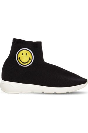 JOSHUA SANDERS Smiley Patch Knit Slip-on Sock Sneakers