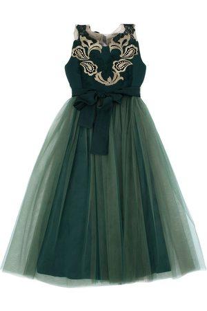 RHEA COSTA Tulle & Crepe De Chine Party Dress