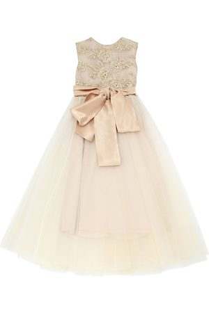 RHEA COSTA Embroidered Stretch Tulle Party Dress