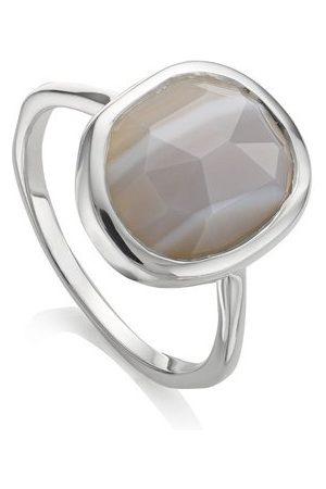 Monica Vinader Sterling Silver Siren Medium Stacking Ring Grey Agate