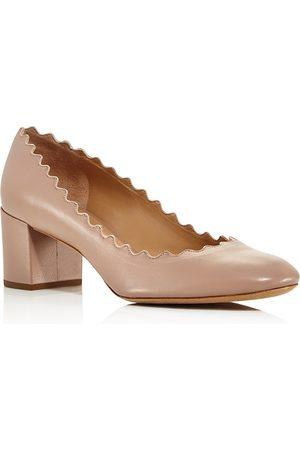 Chloé Women's Lauren Round Toe Leather Block-Heel Pumps