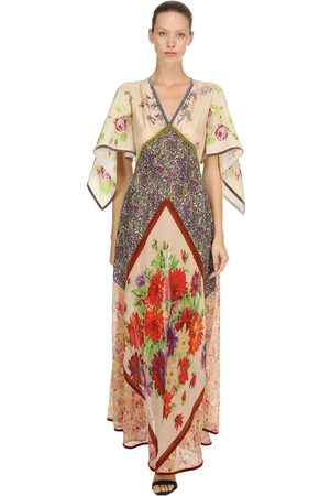Dsquared2 Printed Chiffon Embroidered Gown