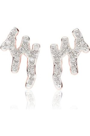 Monica Vinader Women Earrings - Rose Gold Riva Waterfall Stud Diamond Earrings Diamond