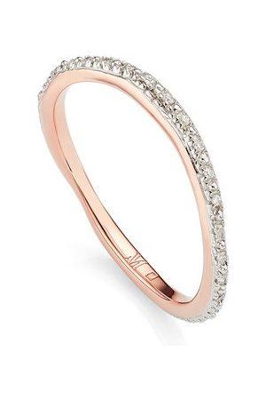 Monica Vinader Rose Gold Riva Wave Eternity Diamond Ring Diamond