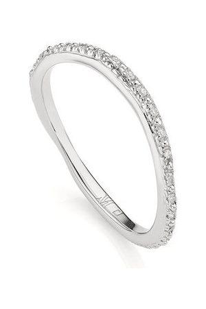 Monica Vinader Sterling Silver Riva Wave Eternity Diamond Ring Diamond