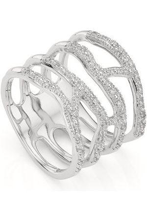 Monica Vinader Women Rings - Sterling Silver Riva Waterfall Cocktail Diamond Ring Diamond