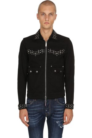 Dsquared2 Studded Zip-up Cotton Denim Jacket