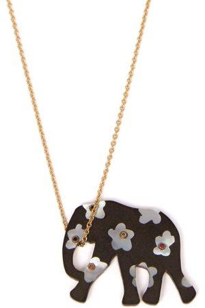 Marc Alary Elephant 18kt Gold, Ebony & Sapphire Necklace - Womens - Multi