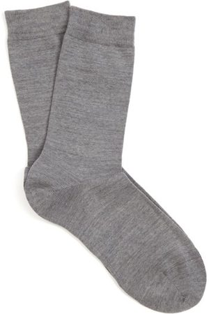 Falke Soft Wool And Cotton-blend Socks - Womens - Grey