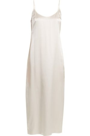La Perla Scoop-neck Silk-charmeuse Midi Nightdress - Womens - Ivory