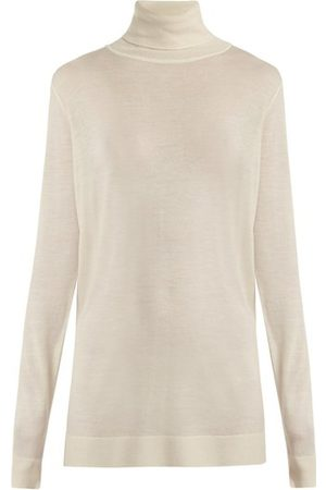Raey Roll Neck Fine Knit Cashmere Sweater - Womens - Ivory