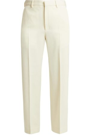 Raey Flood-crop Wool-twill Tailored Trousers - Womens - Ivory