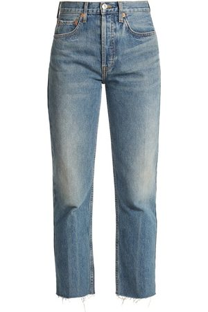 RE/DONE Women High Waisted - Rigid Stove Pipe High-rise Straight-leg Jeans - Womens - Denim