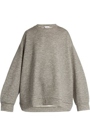 Women Sweats - Raey - Crew-neck Cashmere-blend Sweatshirt - Womens - Grey Marl