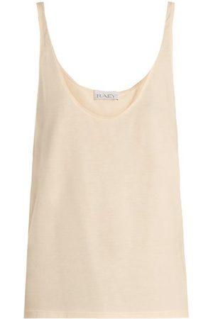 Raey Women Tank Tops - Skinny-strap Cotton-jersey Vest - Womens - Pale