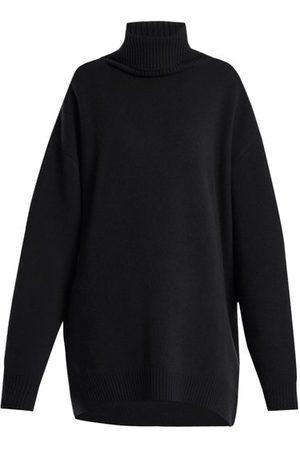 Raey Women Turtlenecks - Displaced-sleeve Roll-neck Wool Sweater - Womens - Navy