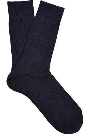 Falke Lhasa Wool And Cashmere-blend Socks - Mens - Navy