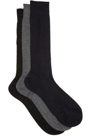 Raey Men Socks - Set Of Three Silk Socks - Mens - Grey Multi