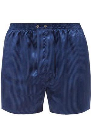 DEREK ROSE Woburn Silk Boxer Shorts - Mens - Navy Stripe