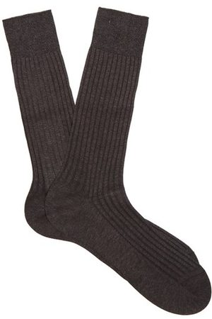 Pantherella Danvers Ribbed-knit Cotton-blend Socks - Mens - Dark Grey