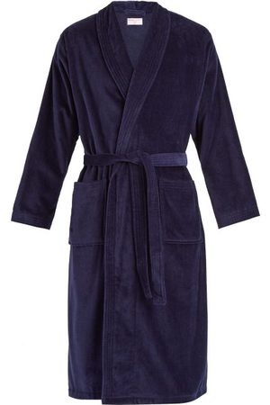 DEREK ROSE Men Bathrobes - Triton Cotton-velour Bathrobe - Mens - Navy