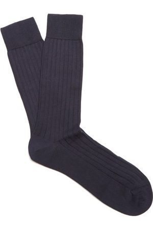 Pantherella Men Socks - Pembrey Cotton-blend Socks - Mens - Navy