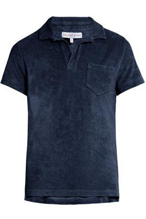 Orlebar Brown Men Polo Shirts - Terry Chest-pocket Cotton Polo Shirt - Mens - Navy