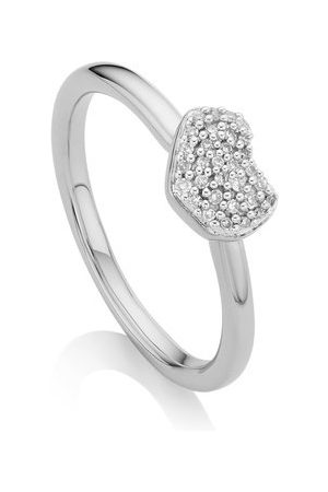 Monica Vinader Sterling Silver Nura Mini Heart Ring Diamond