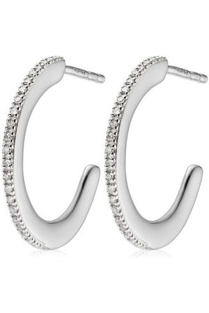 Monica Vinader Women Earrings - Sterling Silver Fiji Skinny Hoop Diamond Earrings Diamond