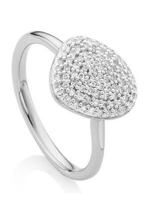 Monica Vinader Women Rings - Sterling Silver Nura Pebble Stacking Diamond Ring Diamond
