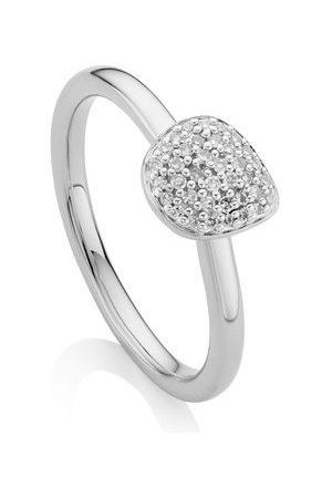 Monica Vinader Sterling Silver Nura Mini Pebble Stacking Ring Diamond
