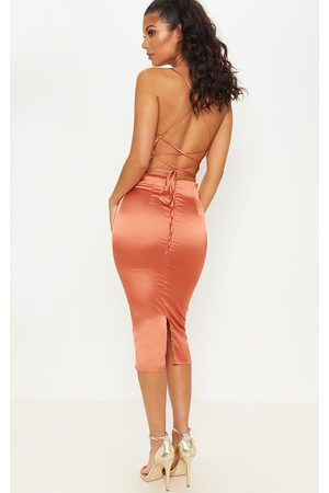 PRETTYLITTLETHING Rust Strappy Back Cowl Neck Satin Midi Dress
