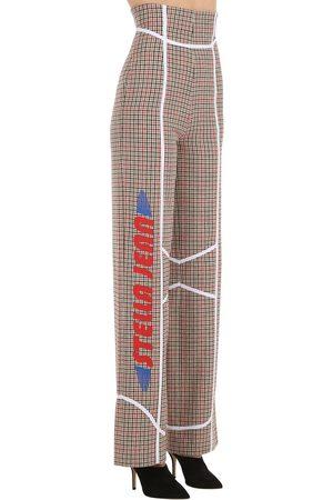 Stella Jean Printed Wool Blend Check Wide Leg Pants
