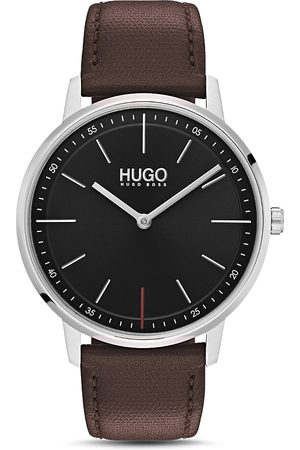 HUGO BOSS #Exist Brown Leather Watch, 40mm
