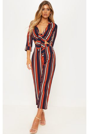 PRETTYLITTLETHING Burnt Stripe Tie Detail Jumpsuit