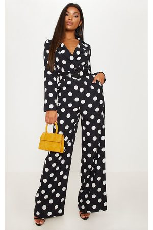 PRETTYLITTLETHING Monochrome Polka Dot Belt Detail Wide Leg Jumpsuit