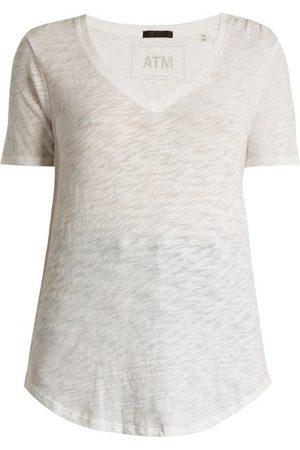 ATM Anthony Thomas Melillo Women Short Sleeve - V-neck Slub Cotton-jersey T-shirt - Womens