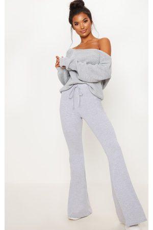 PRETTYLITTLETHING Women Wide Leg Pants - Grey Cotton Drawstring Waist Flare Pants
