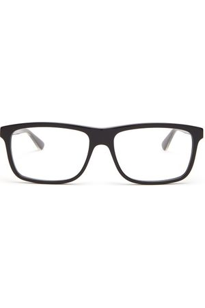 Gucci Web Striped Square Frame Glasses - Mens