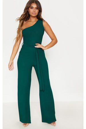 PRETTYLITTLETHING Emerald One Shoulder Tie Waist Jumpsuit