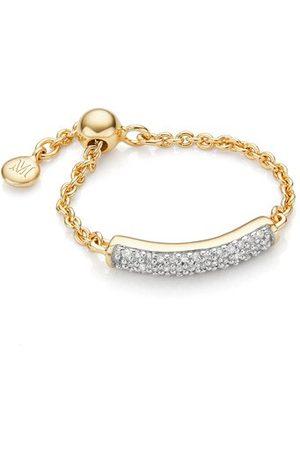 Monica Vinader Gold Fiji Bar Friendship Chain Diamond Ring Diamond
