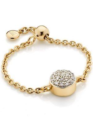Monica Vinader Gold Fiji Mini Button Friendship Chain Diamond Ring Diamond