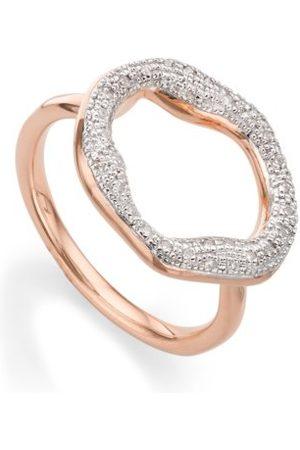Monica Vinader Rose Gold Riva Diamond Circle Ring Diamond