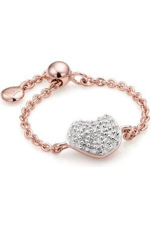 Monica Vinader Rose Gold Nura Mini Heart Friendship Chain Diamond Ring Diamond